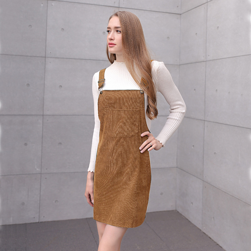 dfaef676ab4 2018 Women Retro Corduroy Dress Autumn Spring Suspender Sundress Loose Vest  Overall Dress Female Natural Casual Dresses-in Dresses from Women s  Clothing on ...