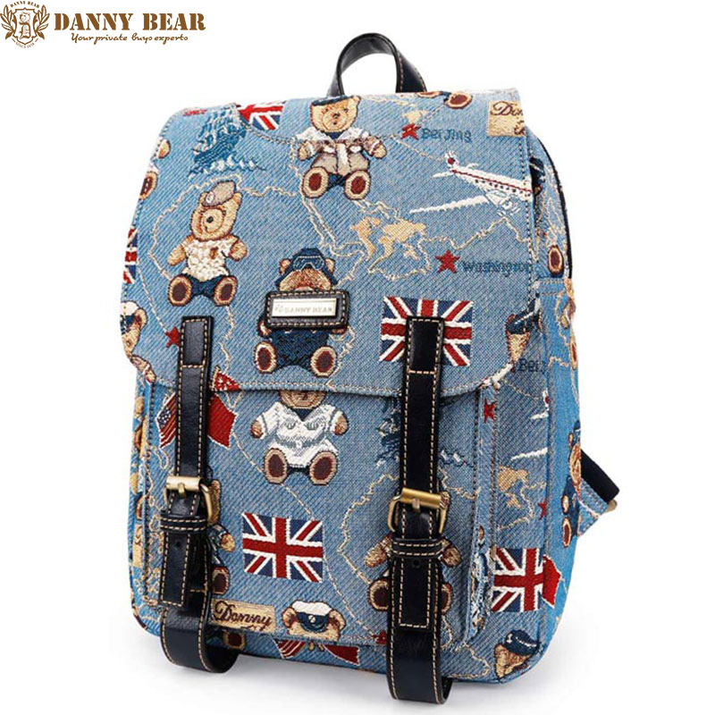 DANNY BEAR Women Backpack Teenager Girl Blue School Backpacks Large Shoulder Back Bags Ladies Vintage Daypack Mochila para mujer шина yokohama bluearth a ae50 215 45 r17 91w