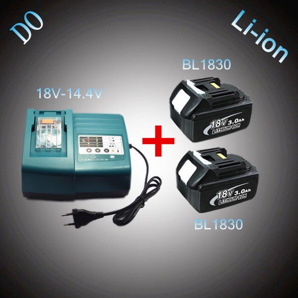 2PCS Rechargeable 3000mAh Lithium Ion 18V BL1830 with Power Tool Battery Charger Replacement for Makita 18 Volt DC18RC DC18RA power tool battery 18v 3000 mah lithium bl1830 for makita bl1830 18v 3 0a 194205 3 194309 1 electric power tool t0 05