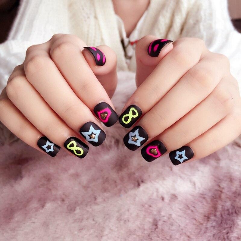 24pcs Flurescence Style Fake Nail Tips Black Short Full