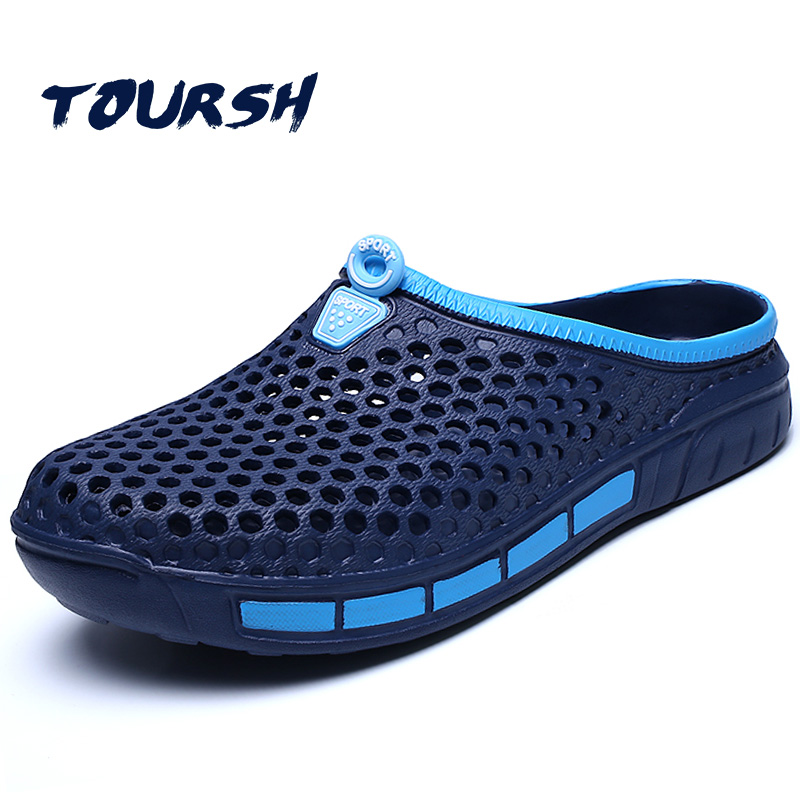 TOURSH Men Summer Shoes Sandals New Breathable Beach Slip On Mens Slippers Walking Cool Outdoor For Casual Summer Slippers Blue sandals men fashion new brand buckle mens flip flop sandals casual slippers brown summer beach sandals men shoes breathable