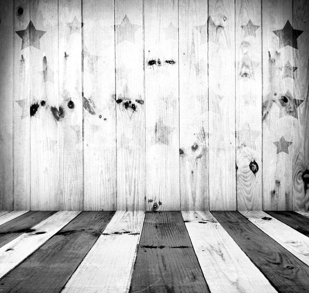 TR Photography Backdrop White Wood 5x7 Grey Stars Printed Black Wood Floor Newborn Studio Background for Kids Custom Made