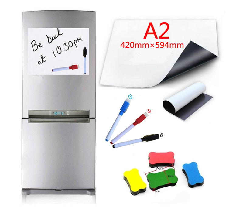 A2 Size Flexible Magnetic Whiteboard Fridge Soft Magnets Dry Wipe White Board Writing Record Board Magnetic Marker Pen Eraser