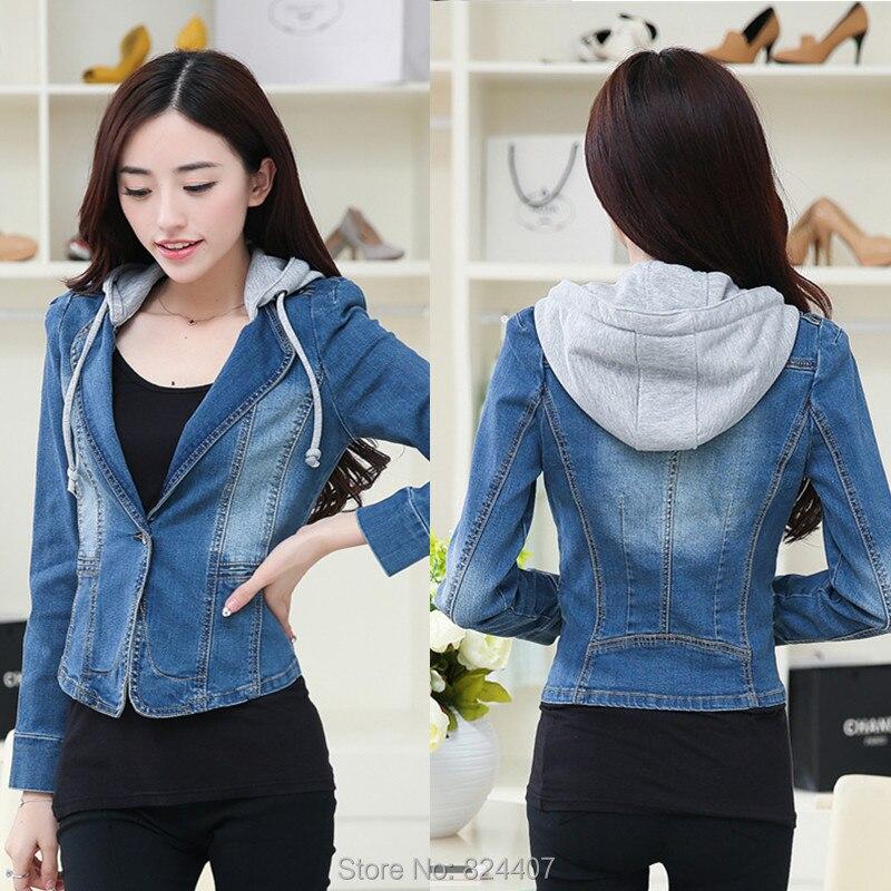 Women S Hooded Denim Jeans Jacket Coats Hoodie Chaquetas Mujer Korea