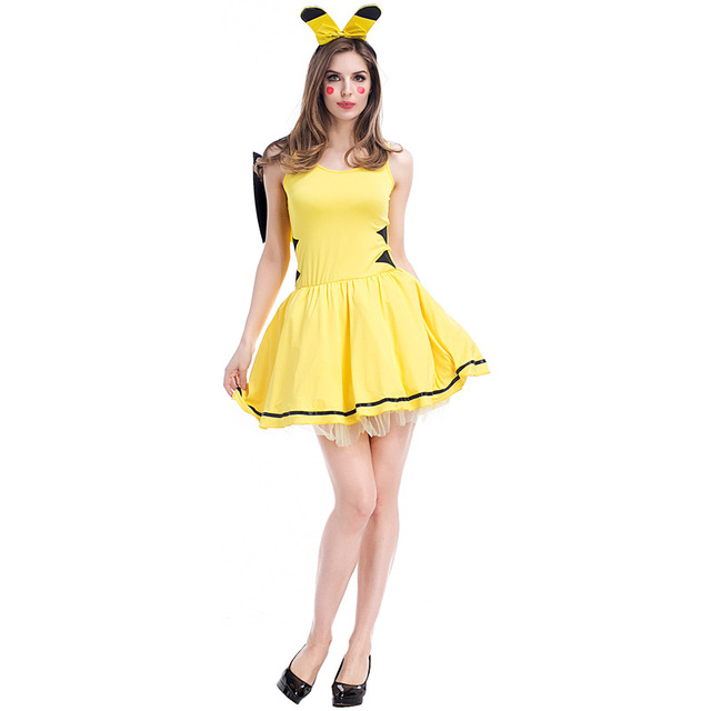 Anime Pikachu Dress Cosplay Costume Women Yellow Short Fashion Casual Sexy For Halloween Carnival