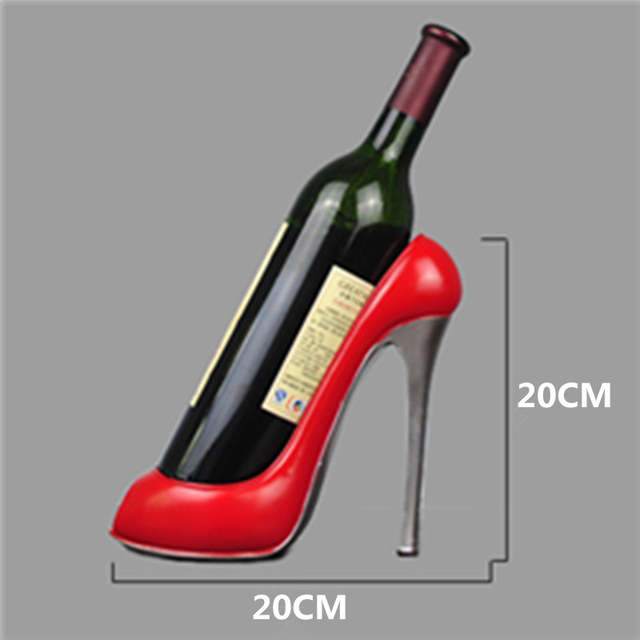 Us 13 27 39 Off Resin High Heel Shoe Shaped Wine Bottle Holder Stylish Shelf Rack Wedding Party Gift Home Kitchen Bar Accessories In Racks