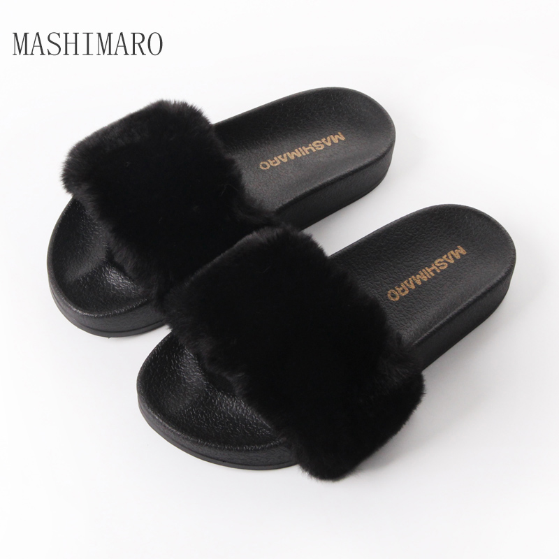 Flat Fur Women Slippers 2017 Fashion Leisure Open Toe Women Indoor Slippers Fur High Quality Soft Plush Lady Furry Slippers flat fur women slippers 2017 fashion leisure open toe women indoor slippers fur high quality soft plush lady furry slippers