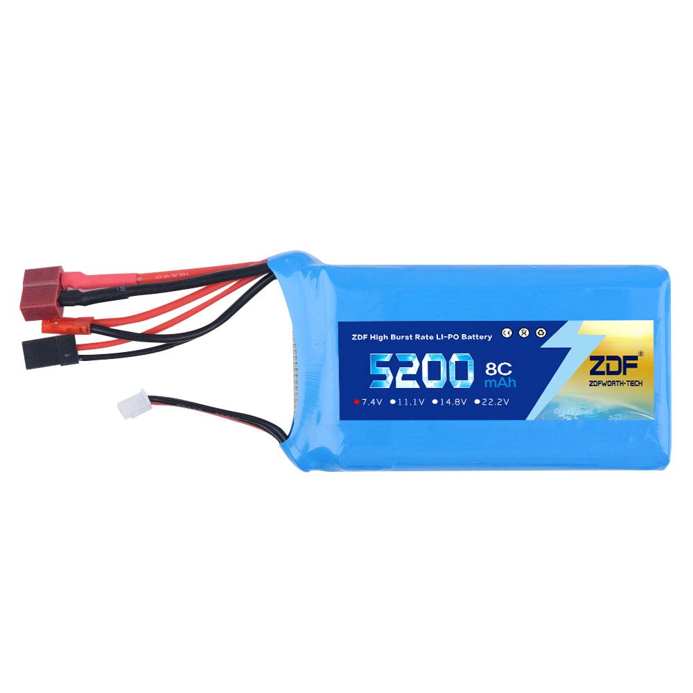 ZDF Power <font><b>Lipo</b></font> Battery <font><b>2S</b></font> 7.4V <font><b>5200mAh</b></font> 8C Li-Po Battery For 1/5 RC Gasoline car Transmitter Li-poly Battery image