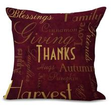 Factory Supply American Style Cartoon Thanksgiving Turkey Stamp Cotton Linen Throw Pillow Sofa Driver Seat Cushion
