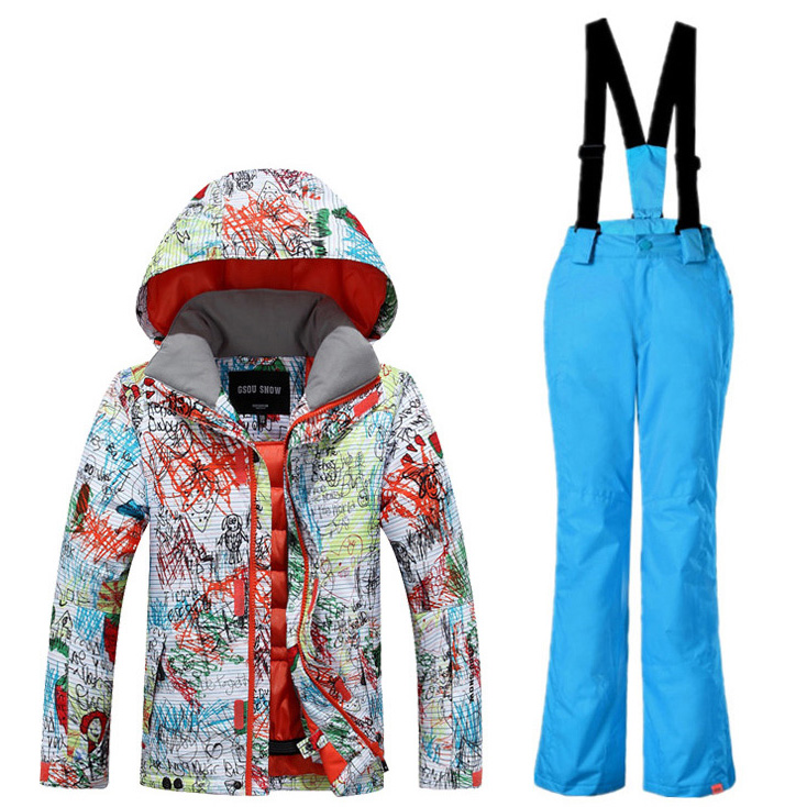 New Gsou Snow Boys Ski Jacket+Pants Outdoor Sport Wear Skiing Snowboard Kids Thicken Thermal Children Suit Outdoor Sport Wear 2016 new brand children snow runner self balance scooter snow bicycle for kids ski kits