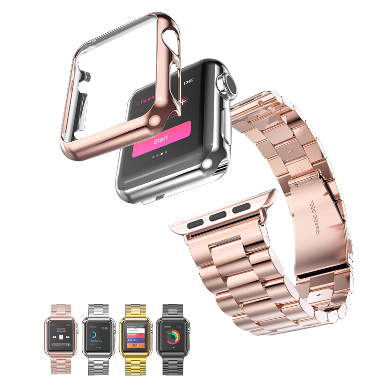 Stainless Steel Watchband Plated Protective Case Cover Set Bracelectfor Apple Watch iWatch Series 1/2 38mm 42mm Watch Case series 1 2 3 soft silicone case for apple watch cover 38mm 42mm fashion plated tpu protective cover for iwatch