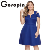Gosopin Plus Size A Line Party Dresses Women Evening Flare Dress Summer Black Elegant V Neck Sexy Club Midi Dress 5XL LC220371