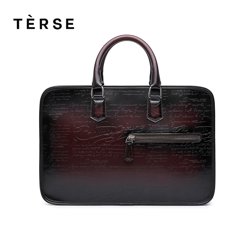TERSE 2018 NEW Handbags For Men Handmade Genuine Leather Briefcase Vintage Luxury Business Totes Laptop Bags Customize Logo Hot