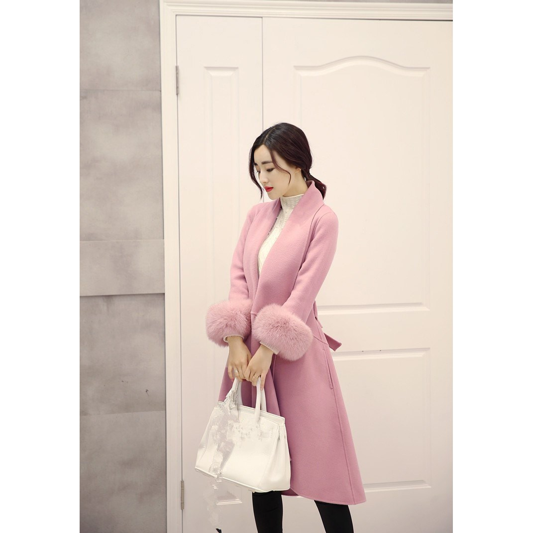 Fur Wool Neck Turndown Coat Long Outerwear Jacket pink Gray Casual camel Winter Solid Size Detachable Slim Plus Blend Color Elegant pqYE7Xw