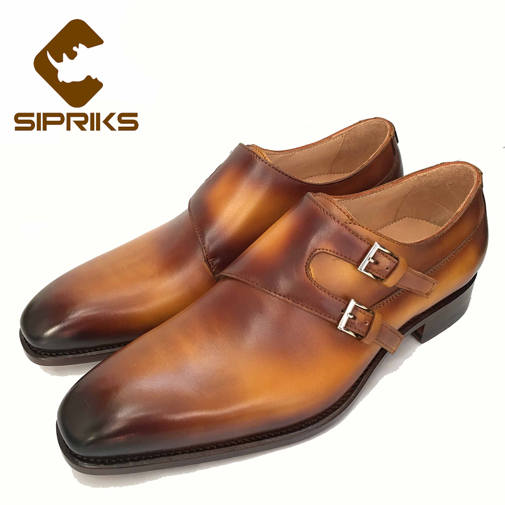 SIPRIKS luxury brand mens goodyear welted shoes yellow brown double monk straps shoes hipster boss genuine leather shoes 35-45 luxury brand mens goodyear welted shoes hipster mens oxford tan shoes real leather soled dress shoes for men elegant boss shoes
