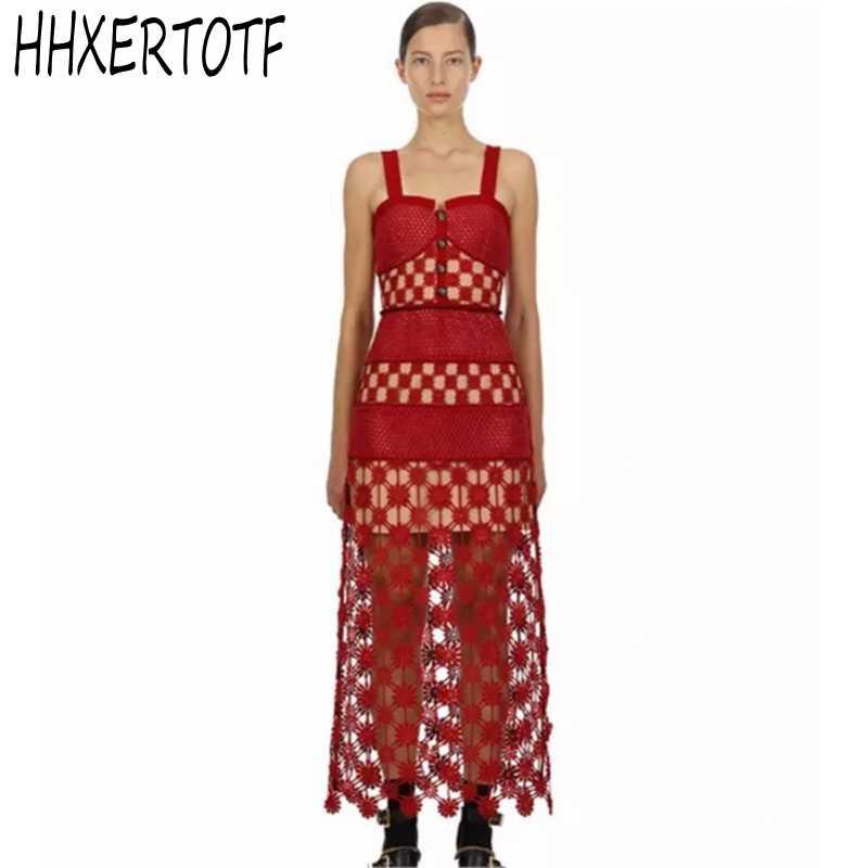 2019 nouveau été haute qualité auto Portrait robe femmes Sexy rouge évider dentelle longue robe Boho Chic robe de plage