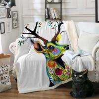Elk Floral Moose Sherpa Blanket Flower Reindeer Bedspread Velvet Plush Bed Blanket mantas para cama Animal deisngs Winter Towel