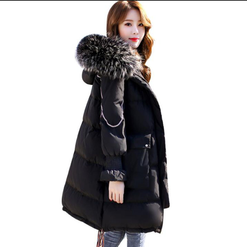 2018 Winter   Down   Jacket Women 90% White Duck   Down     Coat   Fashion Big Fur Collar Hooded Warm Long Parkas Thicken Loose Snow Outwear