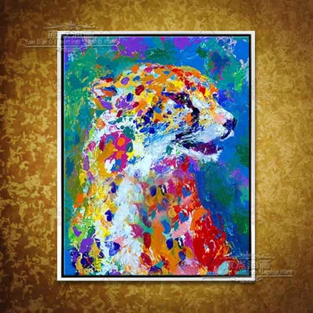 Abstract decorative hand-painted mural paintings oil painting animal hand painted oil painting colorful tiger king living room
