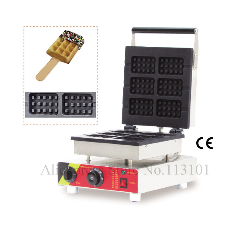 Square Lolly Waffle Machine Commercial Waffle Baker Machine with 6 pcs Moulds Stainless Steel Commercial Waffle Maker