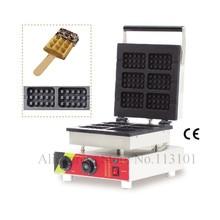 Cuadrados Máquina de Gofres Lolly Waffle Baker, la Máquina Comercial con 6 unids Moldes de Acero Inoxidable Comercial Waflera