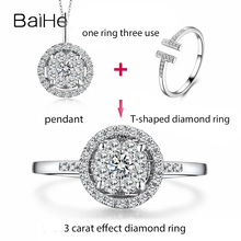 BAIHE Solid 18K White Gold(AU750) 0.45ct H/SI Round Cut 100% Genuine Natural Diamond Engagement Trendy Fine Jewelry Ring baihe solid 14k yellow gold au585 about 0 30ct f g si square cut 100% genuine natural diamonds engagement trendy gift ring