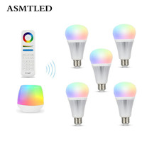 AC110 220V 9W E27 Mi Light RGB CCT LED Intelligent Light Bulb 2 4G RF Remote