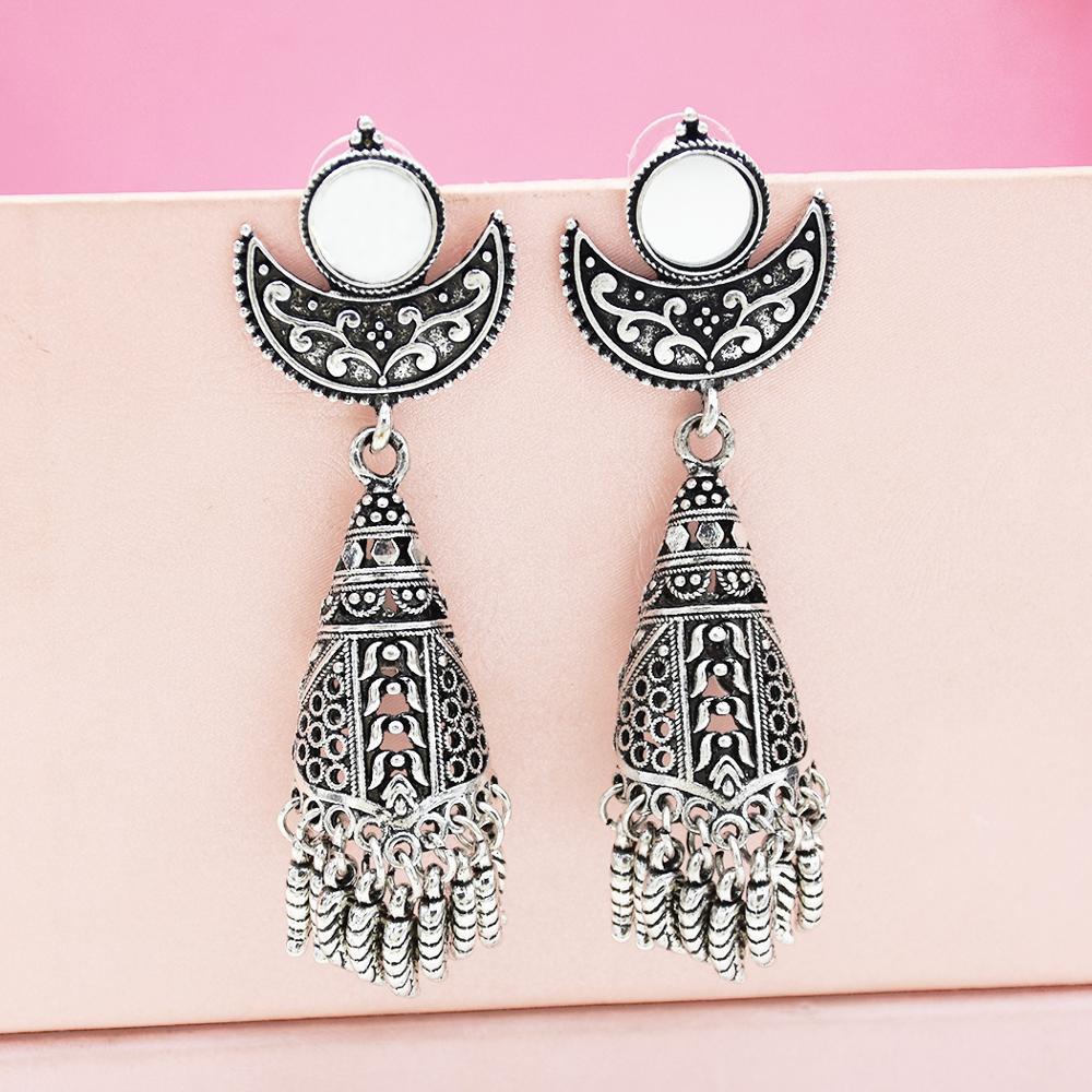 Indian Afghani Jewelry Oxidized Big Mirror Earrings Fashion Party Wear Antique Wedding Bridal Egypt Afghan Ethnic Gypsy Jewellry