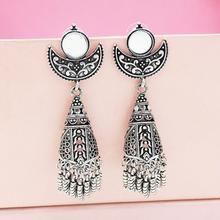 Indian Afghani Jewelry Oxidized Big Mirror Earrings Fashion Party Wear Antique W