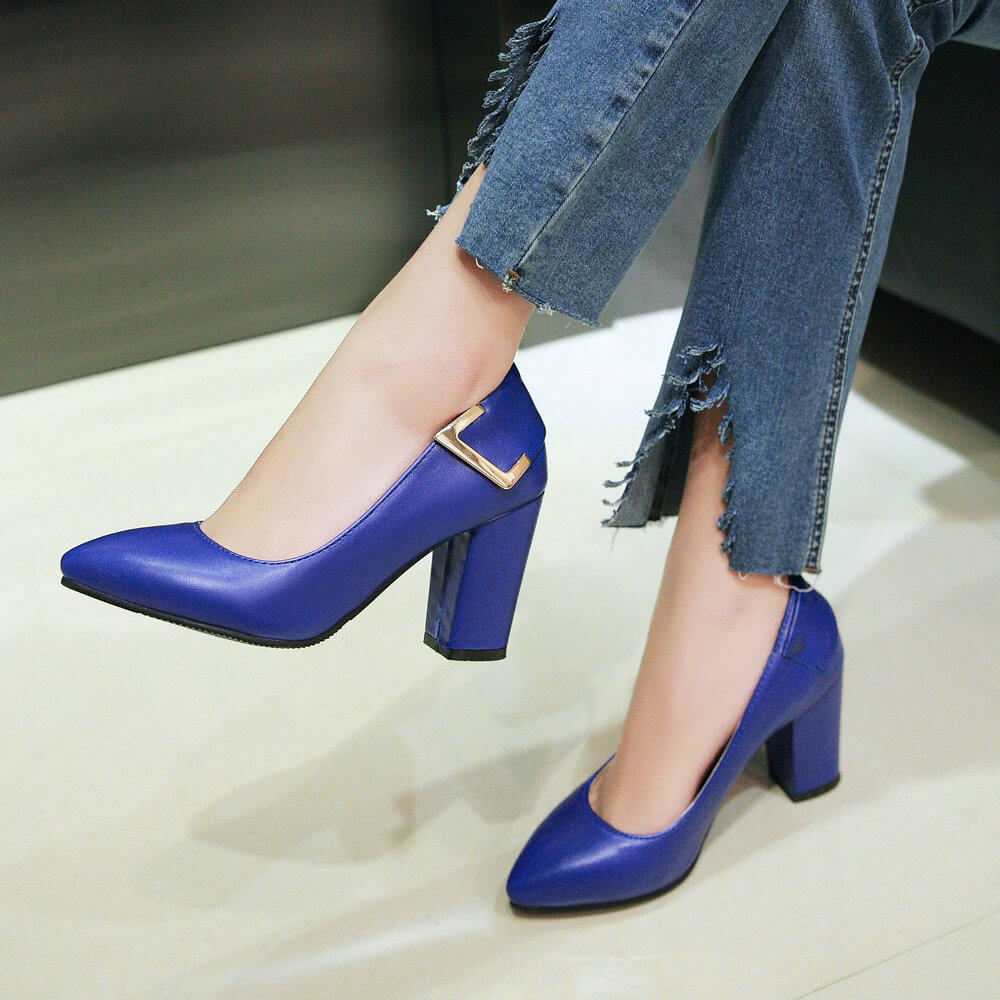 2019 Fashion Pointed Toe High Heels Women Shoes Square High Heel Pumps Black Blue Gray Beige high heels