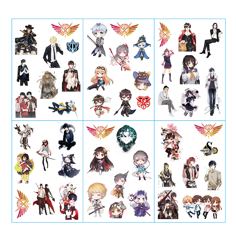 6 Sheets/Set Anime The King's Avatar Decorative Sticker Scrapbooking DIY Craft Stickers Stationery