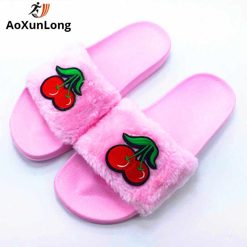 b4b492685ec367 AoXunLong New Slippers Women Flip Flop Beautiful Cherry Fur Slippers Tongs  Femme ete Furry Slides Chanclas