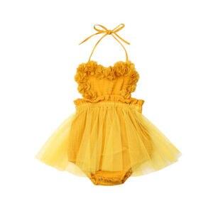 Dziewczyna body noworodka dziewczynka tiul bez rękawów koronkowe body sukienka kombinezon stroje ubrania letnie