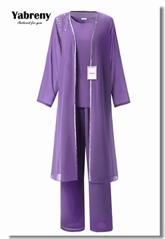 Yabreny Classic Mother of the bride dress with pants Purple Chiffon 3PC Outfit with long Coat MT0017012-2