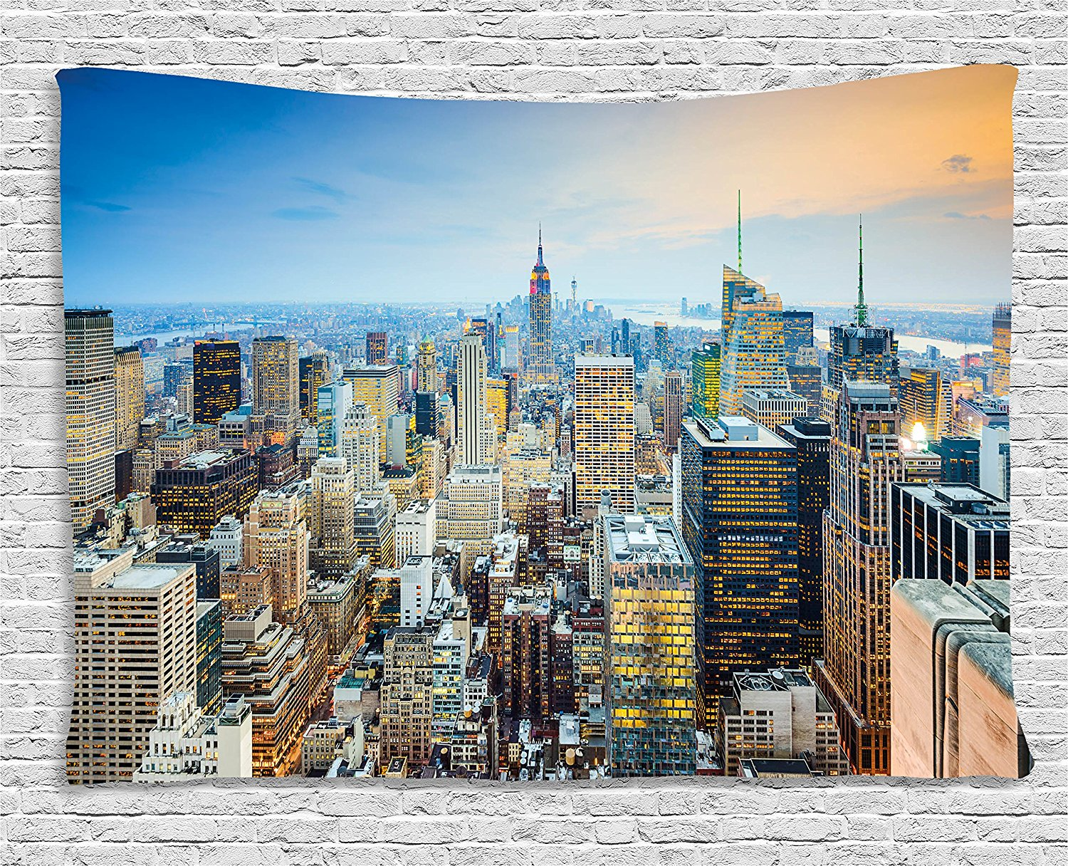American Tapestry New York City Aerial with Skyscrapers Manhattan Urban Architecture Panorama Wall Hanging for Bedroom Dorm