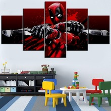 Modular Framework 5 Pieces Print Canvas Painting Movie Deadpool Blood Guns Glitch Type Poster Home Decorative Living Room