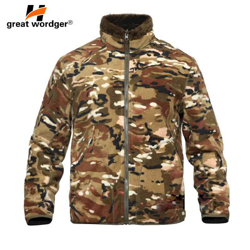 Winter Military Camouflage Fleece Jacket Warm Men Tactical Jacket Thermal Hooded Coat Men Jackets Outdoor Outerwear Clothes
