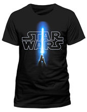 Star Wars 'Logo & Lightsaber' T-Shirt - NEW & OFFICIAL Free shipping  Harajuku Tops Fashion Classic цена