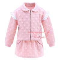 Newest Girl Pink Suits 2Pcs Including Long Sleeve Textured Outerwear With Zipper And Fashion Pocket Skirt
