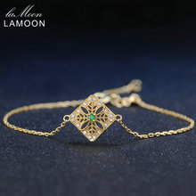 Best Price LAMOON 2mm 0.06ct 100% Natural Emerald 925 Sterling Silver Jewelry 14K Yellow Gold Plated Chain Charm Bracelet S925 LMHI003