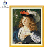 Joy Sunday Oil Painting Girl Cross Stitch 14CT 11CT Printed Cotton Embroidery DIY Handmade Needlework Oil Painting Style Pattern