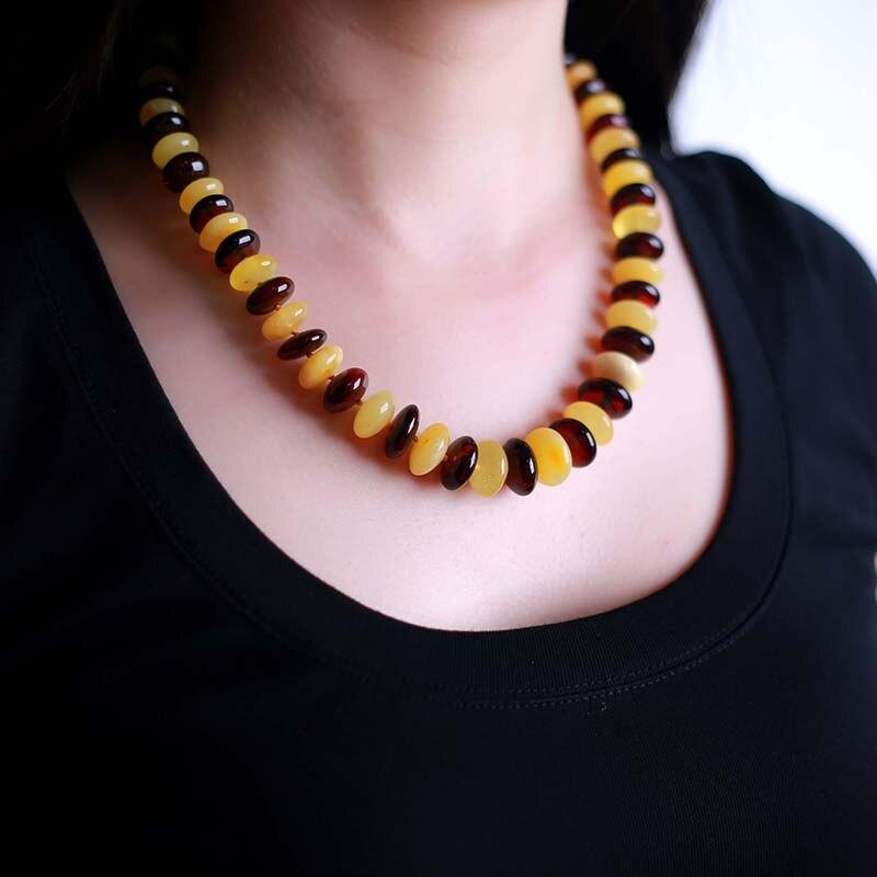 JIUDUO marque bijoux mer baltique ambre naturel aiguille collier pomme pagode chaîne abaque perle sang Perkin Perot poivre mélange