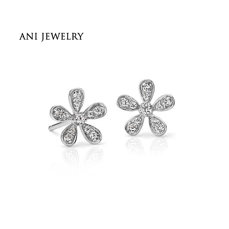 цены на ANI 14K White Gold Women Wedding Stud Earrings 0.18 CT Certified I/SI2 Real Natural Diamond Earrings Flower Shape Lady aretes