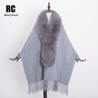 [Rancyword] Genuine Cashmere Winter Women Shawl Ponchos With Natural Fox Fur Trim lady large size Fur Scarf Pashmina RC1257