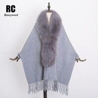[Rancyword] Genuine Cashmere Winter Women Shawl Ponchos With Natural Fox Fur Trim lady large size Fur Scarf Pashmina RC1257