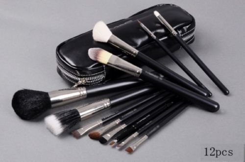 Venta al por mayor 5 set/lot profesional 12 unids pinceles de maquillaje Set 12 unids cepillo cosméticos Make Up Set con 2 Case Kit bolsa, envío gratis