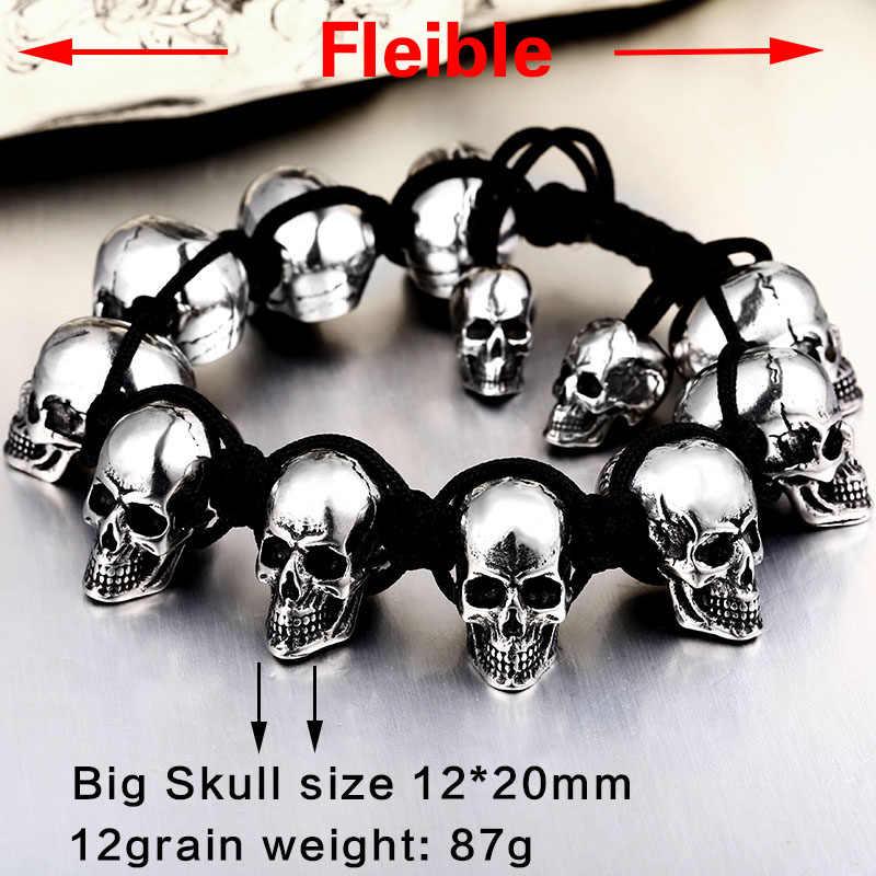 BEIER 2018 nowy przyjeżdża czaszka bransoletki dla mężczyzn ze stali nierdzewnej błyszczące czaszki Charm Link Chain Brecelets mężczyzna gotycka biżuteria BC8-063