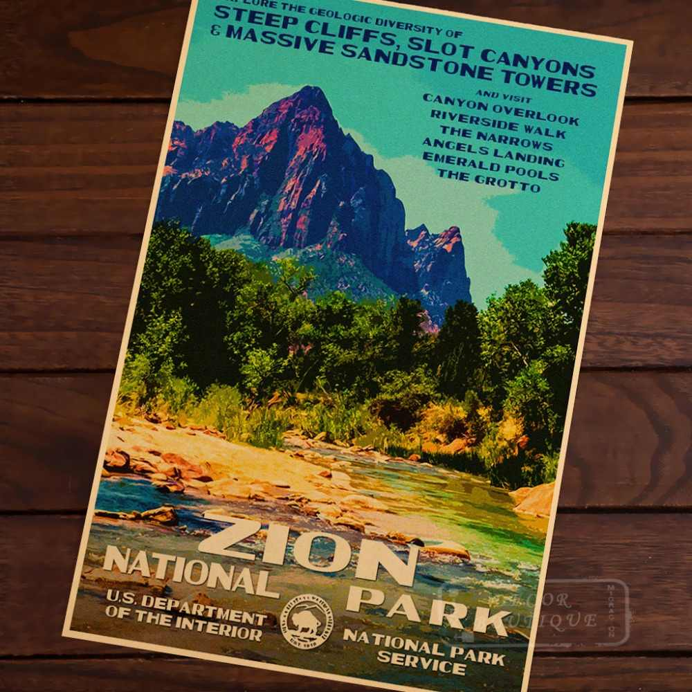 Zion National Park Steep Cliffs Slot Canyons Vintage Kraft Decorative Poster Diy Wall Canvas Sticker Home Bar Posters Decor Gift Wall Sticker Decorative Posterbar Posters Aliexpress