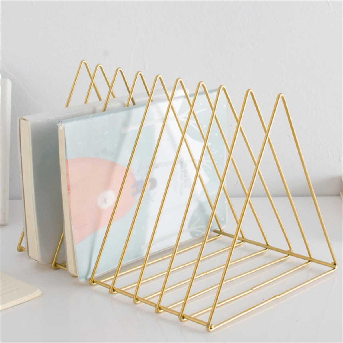 Metal Triangle Iron Art Desktop Bookshelf Letter Magazine Storage Rack Holder Home Decor