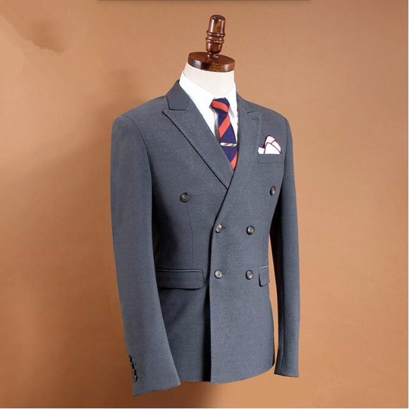 9.1Latest design men suits jacket solid color groom wedding dress jacket double breasted formal business suits jacket